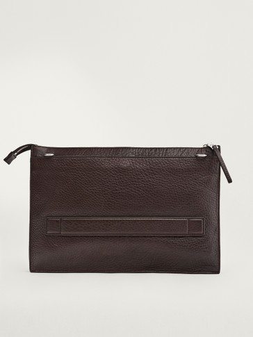 Leather document holder with detachable strap