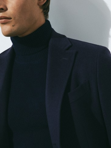 Blue wool and cashmere blend coat
