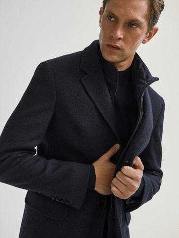 Cotton/wool coat with detachable lining