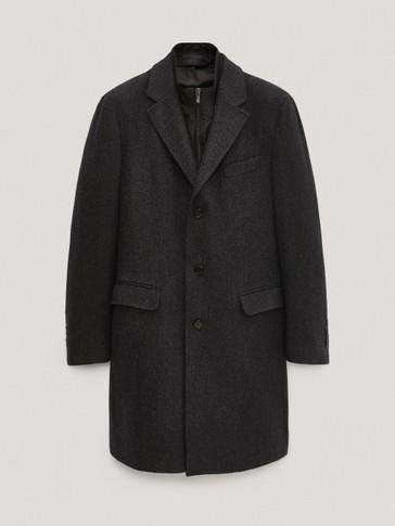 Herringbone wool coat with detachable interior