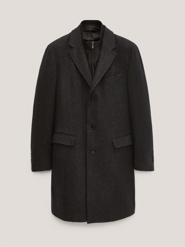Herringbone wool coat with detachable interior