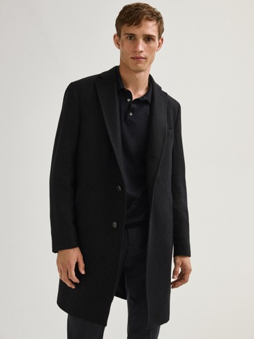 Navy blue herringbone coat made of 100% wool