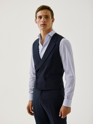 Double-breasted navy textured 120's wool waistcoat