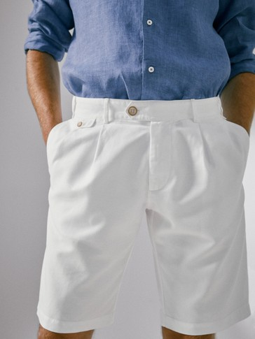 COTTON AND LINEN BERMUDA SHORTS WITH WAIST DETAIL