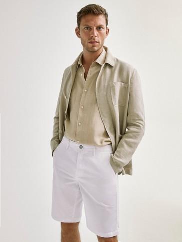 Plain linen cotton bermuda shorts