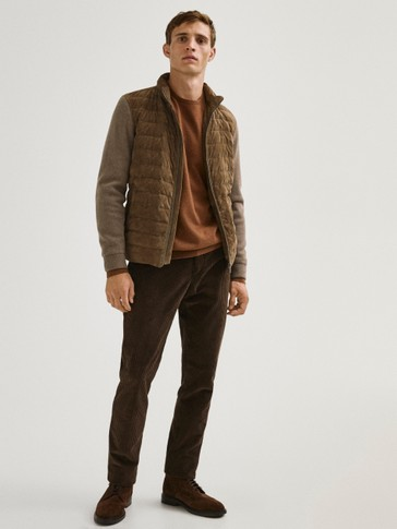 Suede jacket with contrast knit detail