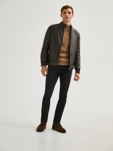 Reversible quilted leather jacket