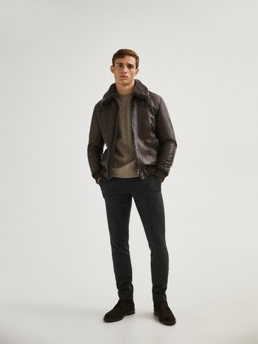 Leather jacket with lambskin collar