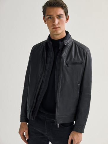 BLACK NAPPA LEATHER JACKET WITH CUTWORK DETAILS