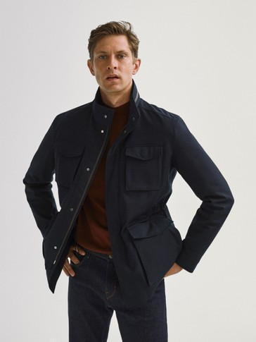 Navy blue jacket with four pockets