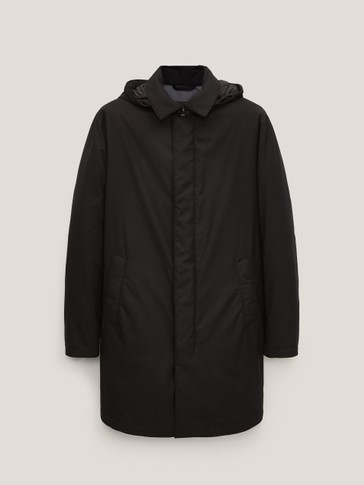 Down trench coat