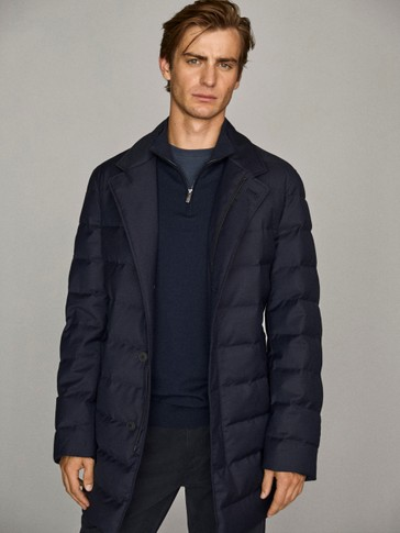 Technical down trench jacket