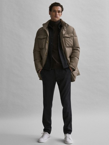 Long down jacket with pockets