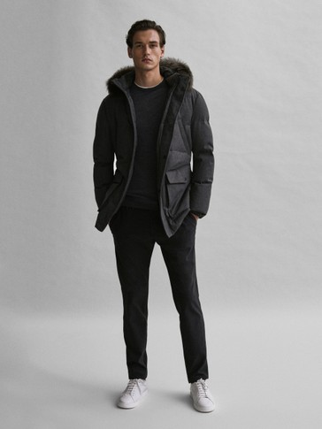 Wool down jacket with lambskin hood