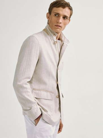 Herringbone cotton linen blazer