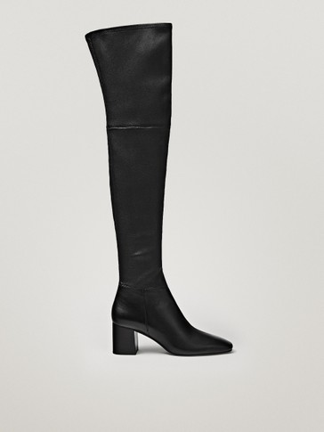 Over-the-knee stretch leather boots