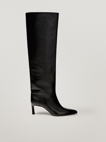black high-heel boots