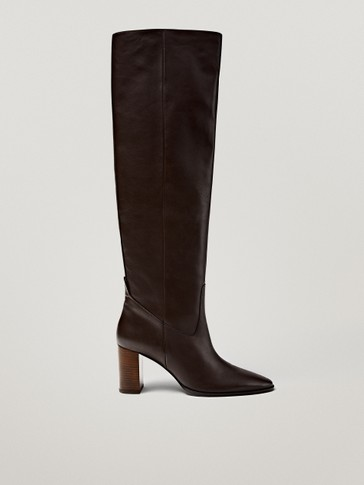Brown leather boots with wooden heels