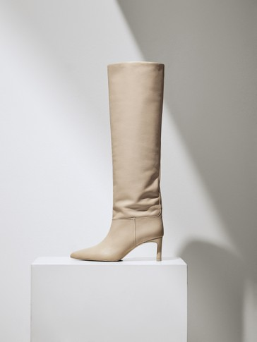 LIMITED EDITION cream high-heel leather boots