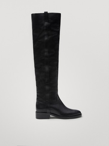 Black lined leather knee-high boots