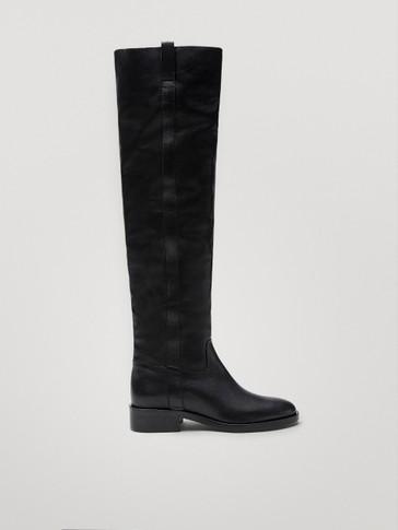 Crne kožne čizme do koljena s podstavom