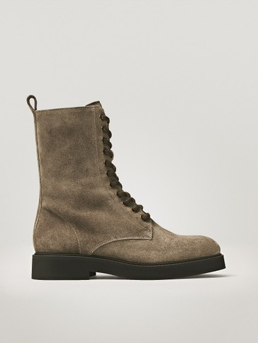 TAUPE SPLIT SUEDE LACE-UP BOOTS