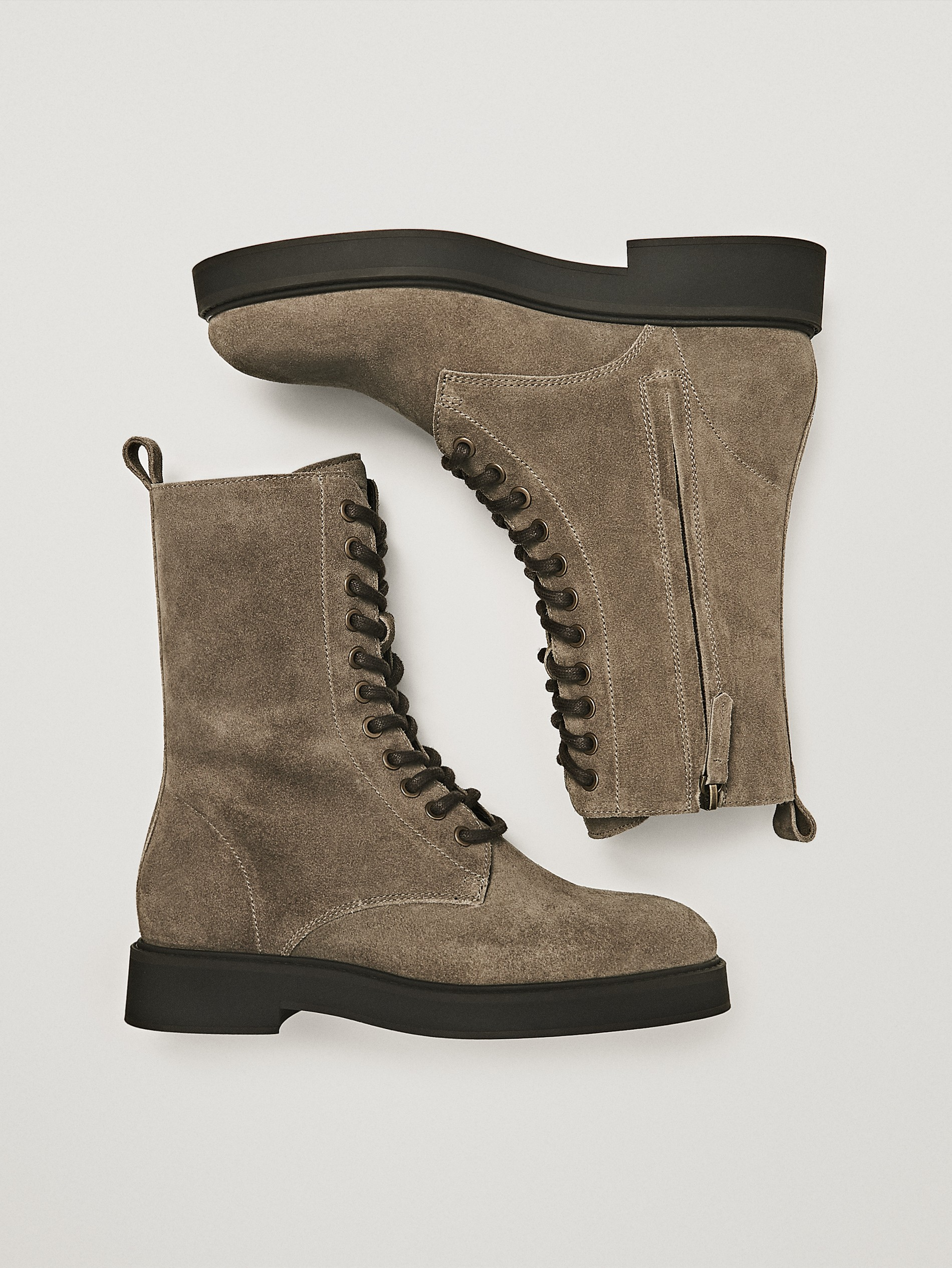 TAUPE SPLIT SUEDE LACE-UP BOOTS - Women
