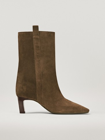 BOTTINES À TALON MIDI EN CROÛTE DE CUIR MARRON