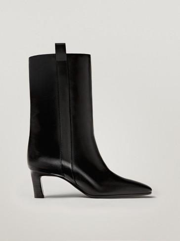 Black nappa mid-heel ankle boots