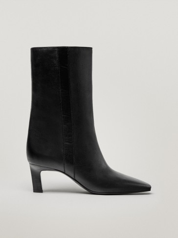 Leather mid-heel ankle boots with square toe