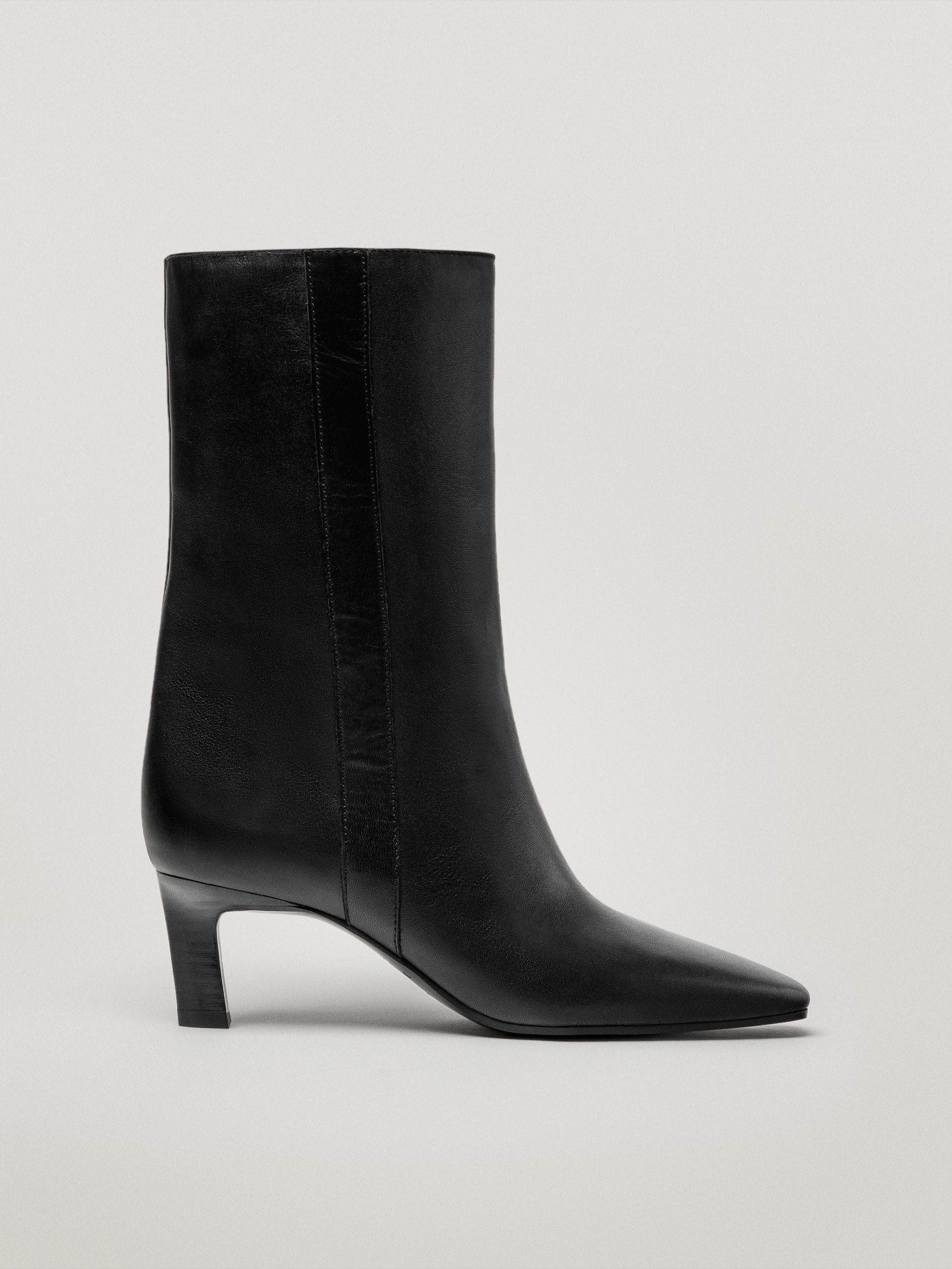 Leather mid-heel ankle boots with