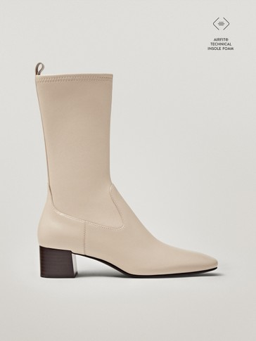 Cream leather sock ankle boots with square toe