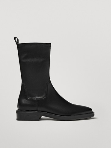 Black stretch leather ankle boots