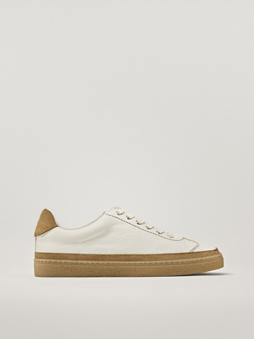 NAPPA LEATHER TRAINERS WITH CONTRAST TOPSTITCHING