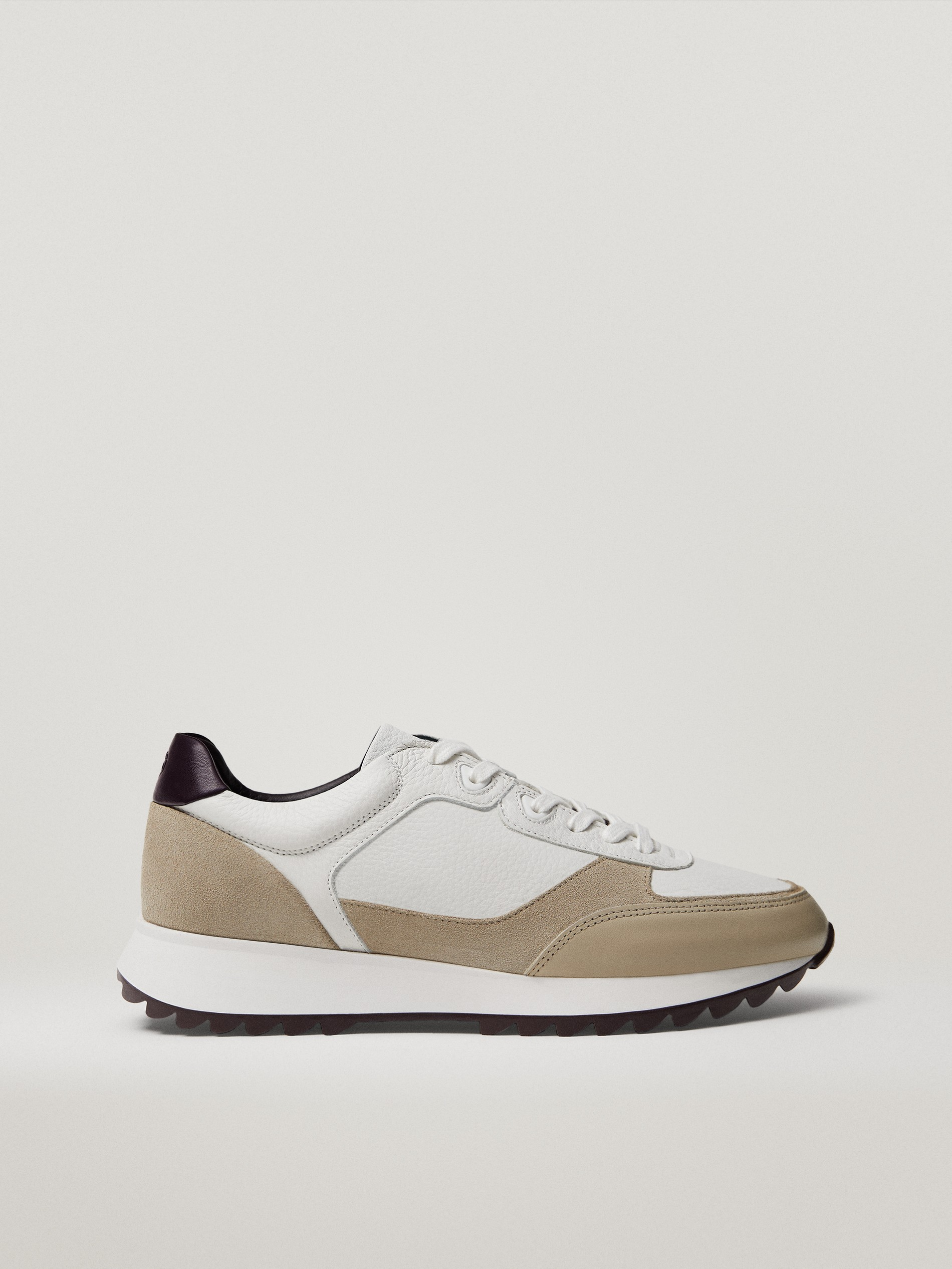 Contrast leather heeled trainers in