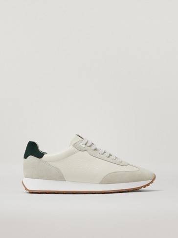 Tumbled leather trainers with green heel