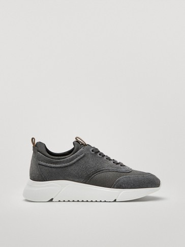Leather trainers with sock detail