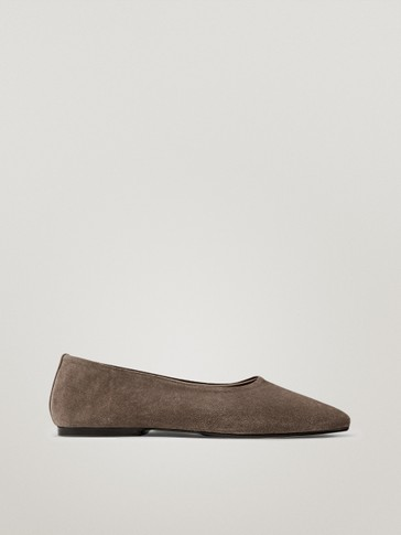 Taupe soft leather ballet flats