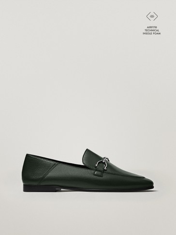 GREEN LOAFERS WITH BUCKLE DETAIL