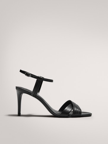 HIGH-HEEL SANDALS WITH CROSSED STRAPS