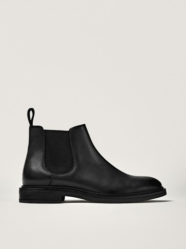 Black nappa leather sock ankle boots