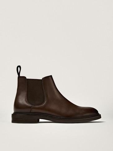 Brown nappa leather sock ankle boots