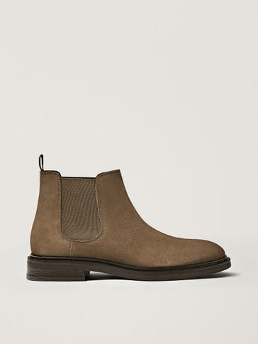 Mink-coloured split suede sock ankle boots