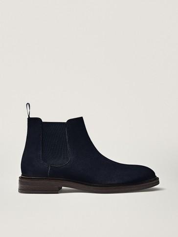 Blue split suede sock ankle boots