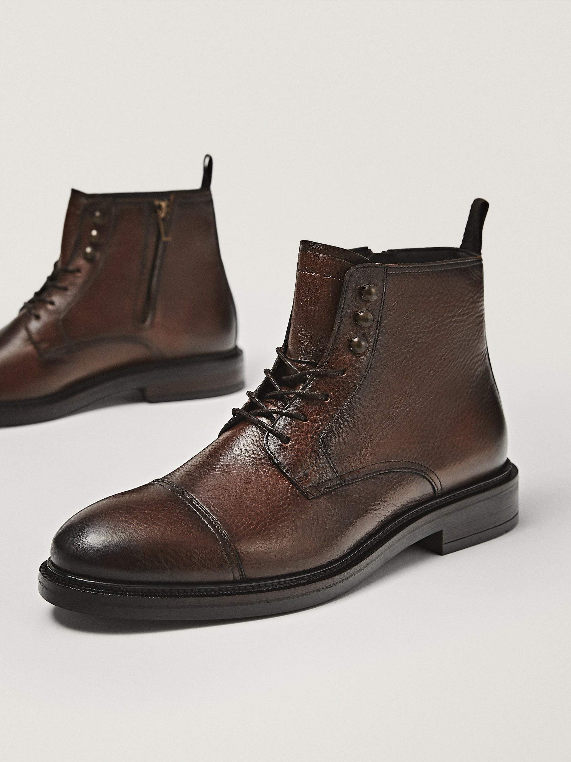 Tumbled leather boots - null - Massimo