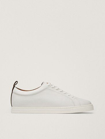 WHITE TRAINERS WITH HEEL TAB