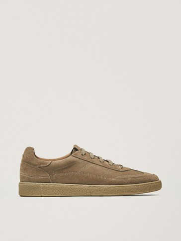 SPLIT SUEDE CAMEL TRAINERS