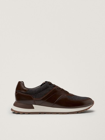 Leather trainers with felt detail