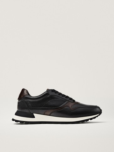 Black brushed leather trainers