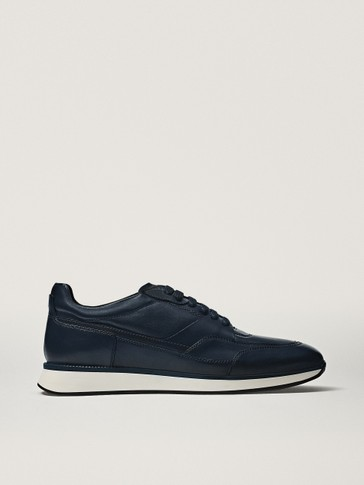 Blue brushed leather trainers